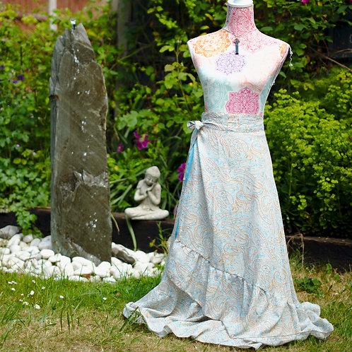 Recycled Sari Silk Long Wrap Skirt Aqua