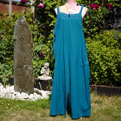 Tie-Up Dungarees Teal Size Large