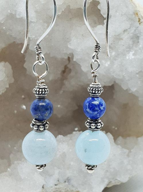 Aquamarine and Lapis Lazuli Silver Earrings