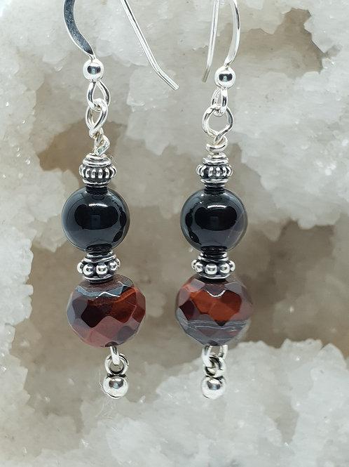 Onyx and Red Tigers Eye Earrings