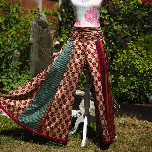 Recycled Sari Silk Umbrella Trousers Gold/TealStripe