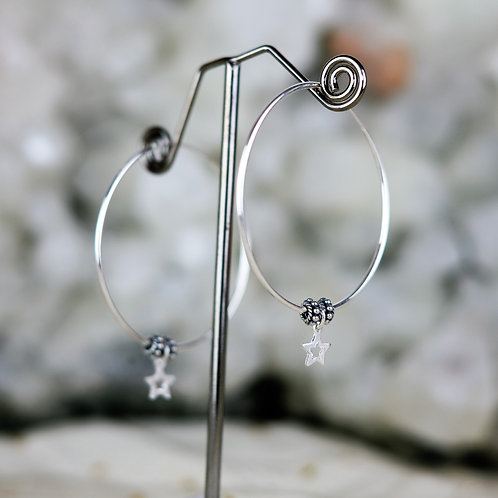 Dangly Star Silver Hoops