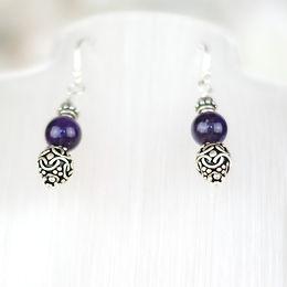 Amethyst and Ornate Silver Bead Earrings