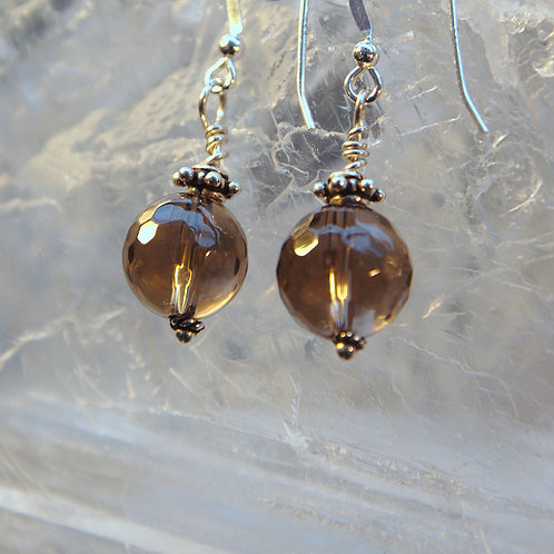 Faceted Smokey Quartz Sterling Silver Drop Earrings