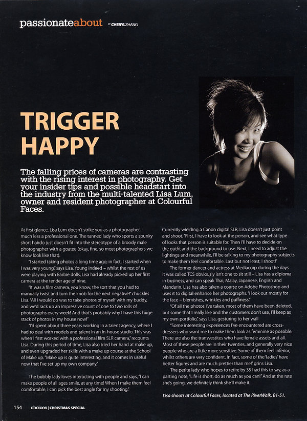 Lisa Lum interview on Choices magazine article on ''How did you become a photographer?''