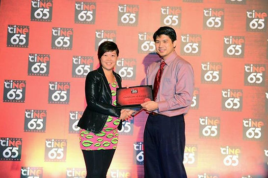"Lisa Lum receiving ""Special Mention Award"" for cINE65 film competition"