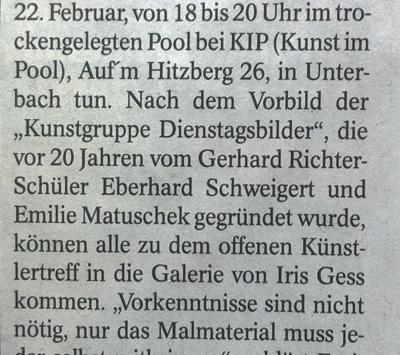 Kunst im Pool: Aktzeichen in Unterbach
