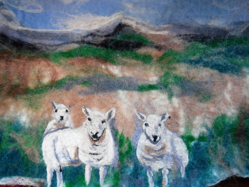 Wet felted Picture, Sheep in the glen
