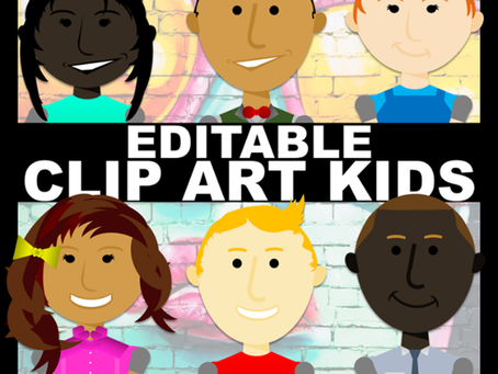 What are editable clip art kids?