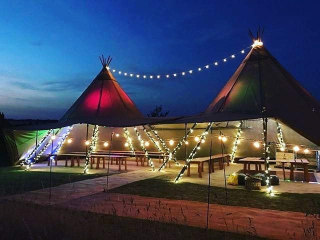 Fiary Lights and Festoon between Tipi Tops