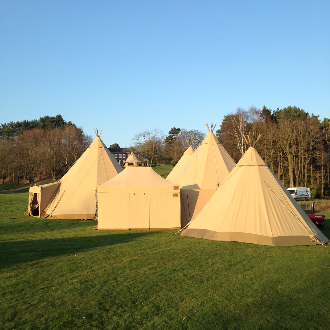 Catering Tent between 3 Tipi Setup