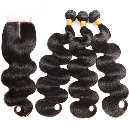 9A Peruvian Loose Wave Hair Bundles with Closure