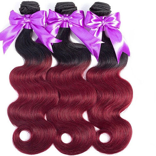 Platinum T1B/Burgundy Ombre Hair
