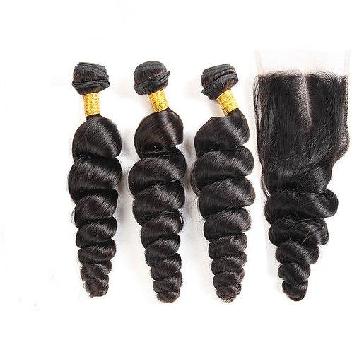 Peruvian Loose Wave Hair Bundles with Closure