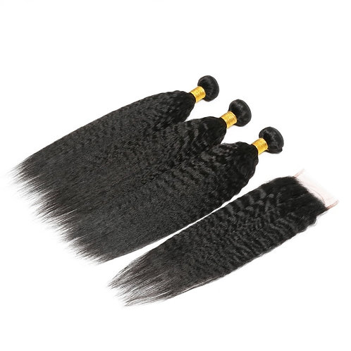 Brazilian Kinky Straight Hair Bundles with Closure