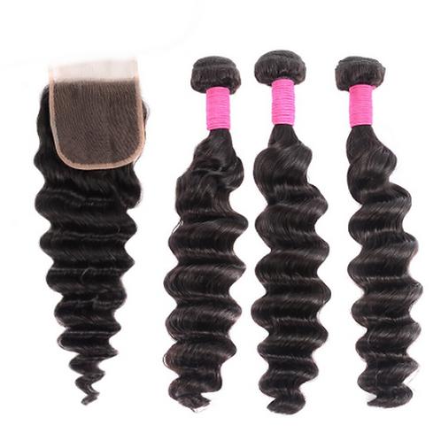 Brazilian Loose Deep Wave Hair Bundles with Closure