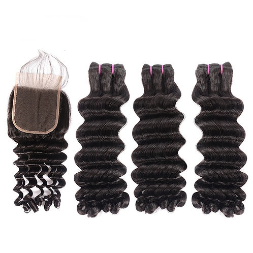 Indian Funmi Curly Hair Bundles With Closure 4x4 Lace Closure
