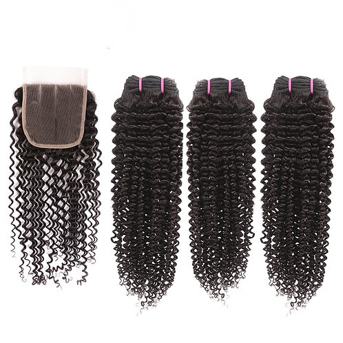 Brazilian Kinky Wave curly Hair Bundles with Closure