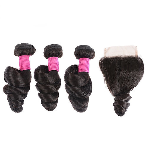 Brazilian Loose Wave Hair Bundles with Closure