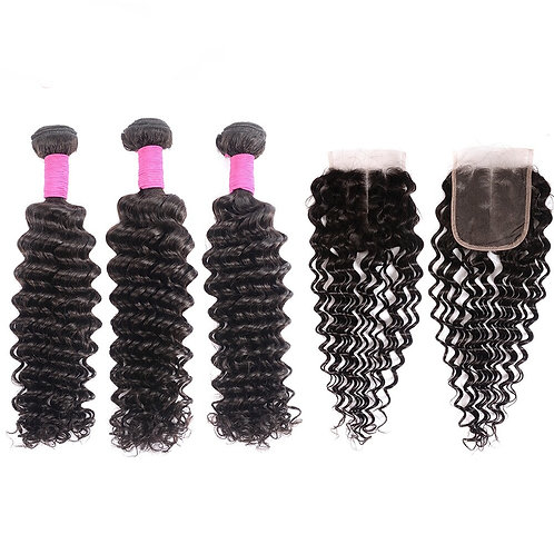 Brazilian Deep Wave Hair Bundles with Closure