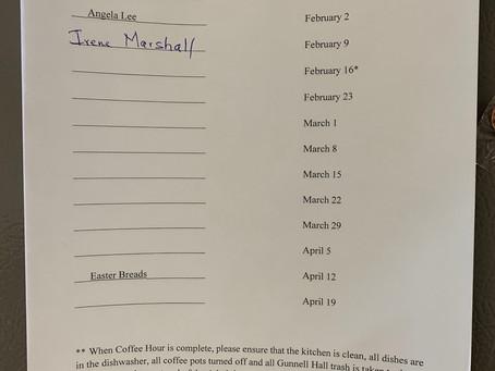 Coffee Hour Host Volunteers Needed