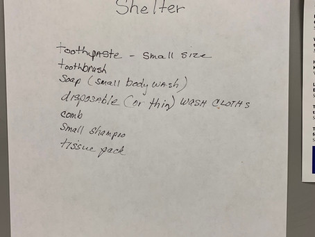 Hypothermia Shelter: Collecting items for hygiene bags