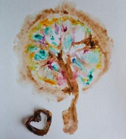 pretty placenta print and umbilical cord heart keepsake