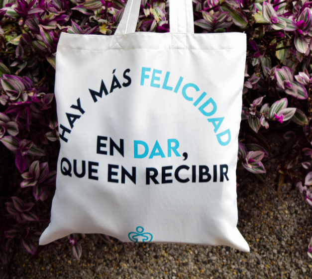 Bolsa Hay más felicidad en dar que en recibir (40cm x 40cm)