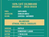 Café orgánico de Zapatoca molido