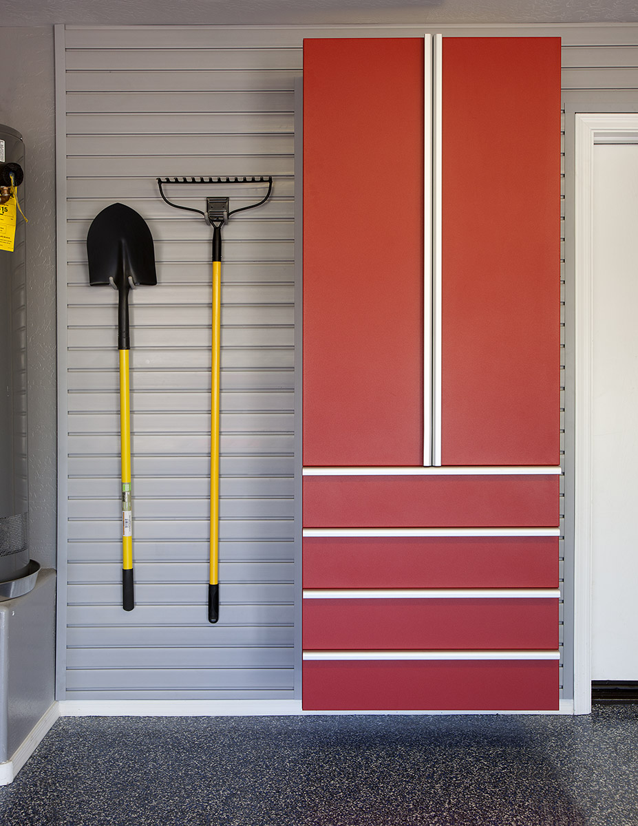 Red Cabinet Drawers Shovel Rake on Grey