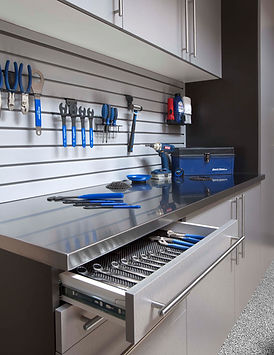 Silver Cabinets Stainless Workbench Draw