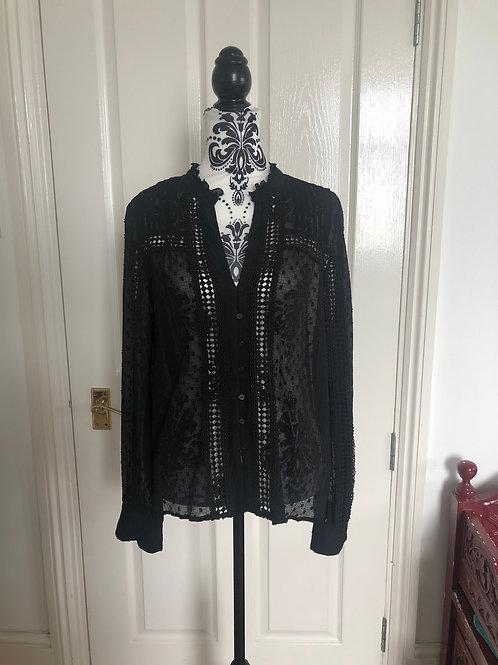 Zara black mesh blouse