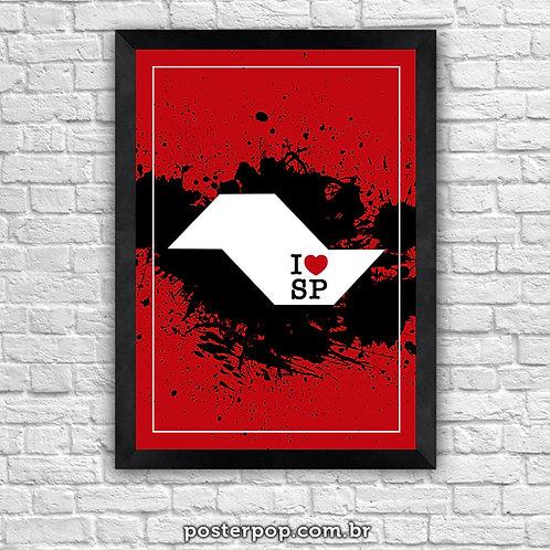 Quadro Poster I Love SP Vermelho e Preto