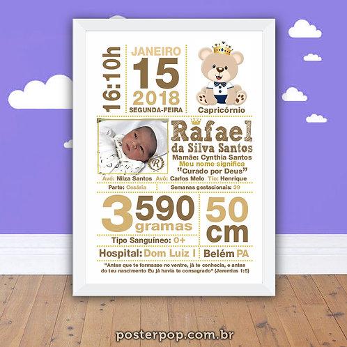Poster Chalkboard Maternidade Nascimento Urso