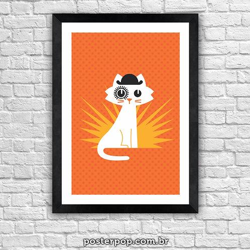 Poster Cat O Clock - Gato Laranja Mecânica