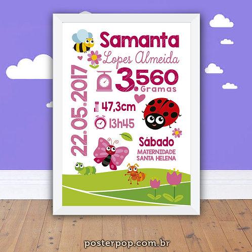 quadro Poster Chalkboard Maternidade Nascimento Joaninha e Borboleta