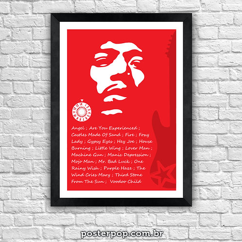 Poster Jimmy Hendrix - Rock Red