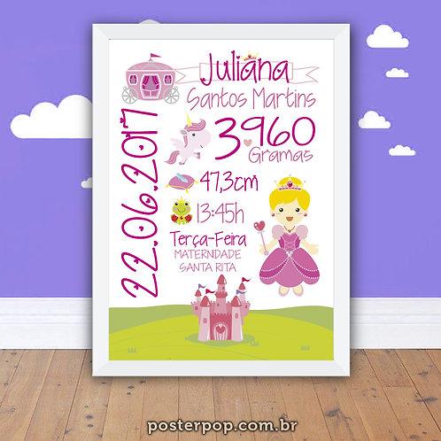 Quadro Poster Chalkboard Maternidade Nascimento Princesa