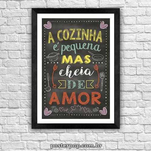 Quadro Chalkboard Cozinha Pequena Cheia de Amor