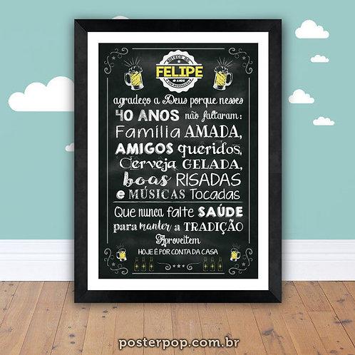 Quadro Poster Chalkboard Boteco Aniversário Personalizado