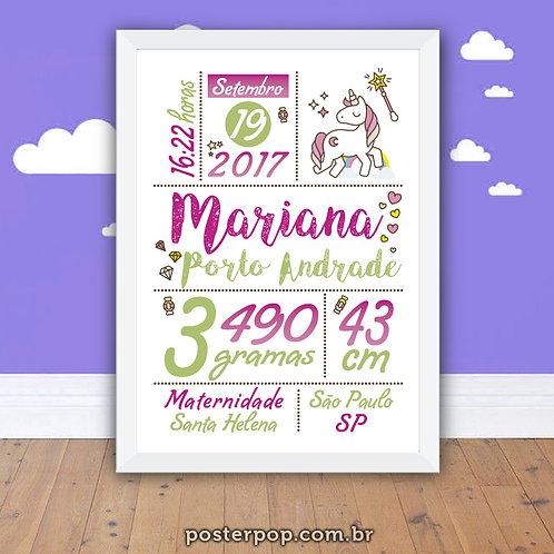 Poster Chalkboard Maternidade Nascimento - Menina