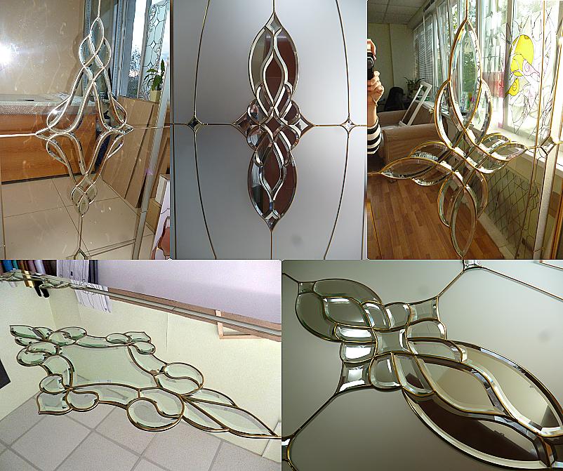 Фацетные элементы на зеркалах - витражи для шкафов-купе