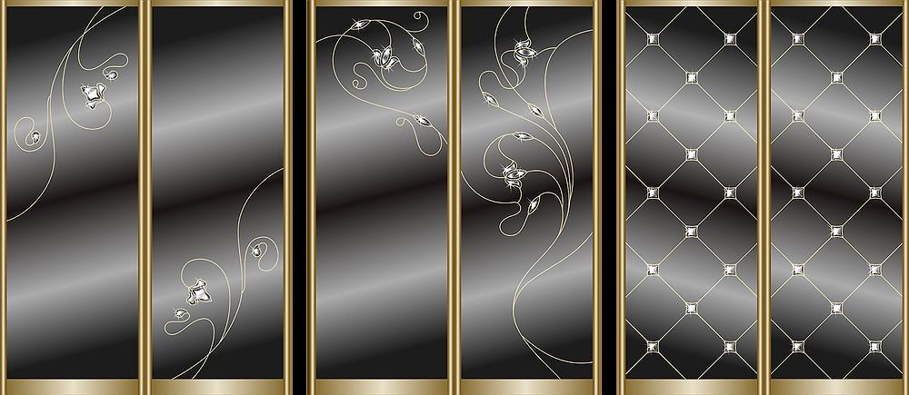 Варианты дизайна витражей для шкафов-купе