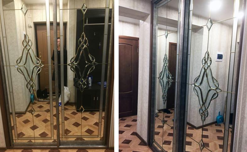 Шкаф-купе с зеркальными витражами для прихожей