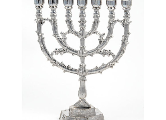 Silver plated Leaf Design Twelve Tribes 7 Branch Menorah