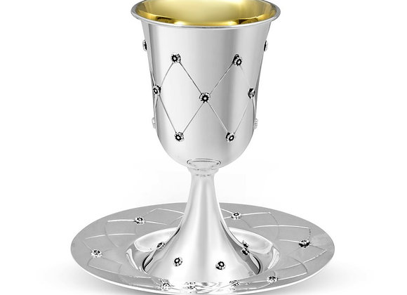 Sterling Silver Kiddush Goblet with Matching Plate - Diamond Flower Design