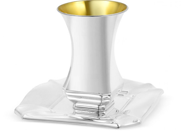 Sterling Silver Shabbat Kiddush Cup and Square Plate - Curving Design