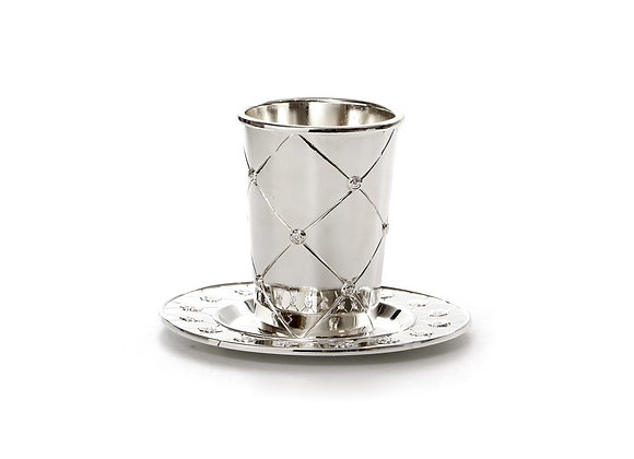 Silver Plated Kiddush Cup and Tray with Criss-Cross Design