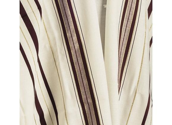 Talitnia Wool Tallit Traditional Kosher Prayer Shawl - Maroon & Gold Stripes