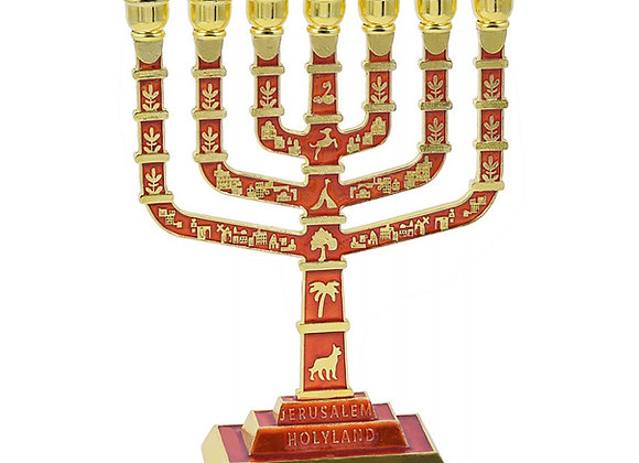 7 Branch Jerusalem Menorah on Square Base with Gold Judaic Motifs - Red